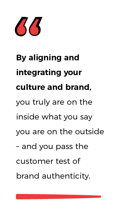 Quote from Fusion -By aligning and integrating your culture and brand, you truly are on the inside what you say you are on the outside